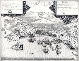 Belegering van Assaudi door VOC-schepen tijdens de Grote Ambonse Oorlog (1650-1656) (bron: Bor)