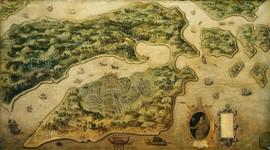 Gezicht op Ambon met fort Victoria; inzet Frederik de Houtman, de eerste gouverneur van Ambon