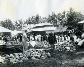 Bestuurlijke en kerkelijke leiders bij de eerstesteenlegging van de kerk in de leprozerie, Ambon, ca. 1935 (bron: MuMa)