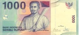 Biljet van 1000 rupia met Pattimura als nationale held van Indonesië (bron: MuMa)