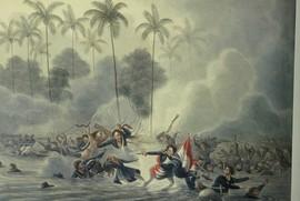 Mislukte landing van expeditie Beetjes bij Waisisil op Saparua, 1817 (bron: aquarel Q.M.R. Ver Huell)