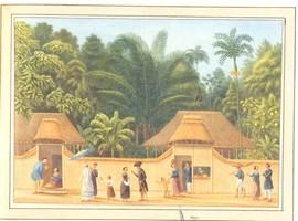 Straatgezicht in Ambon met verschillende groepen bewoners (bron: aquarel Q.R.M. Ver Huell)